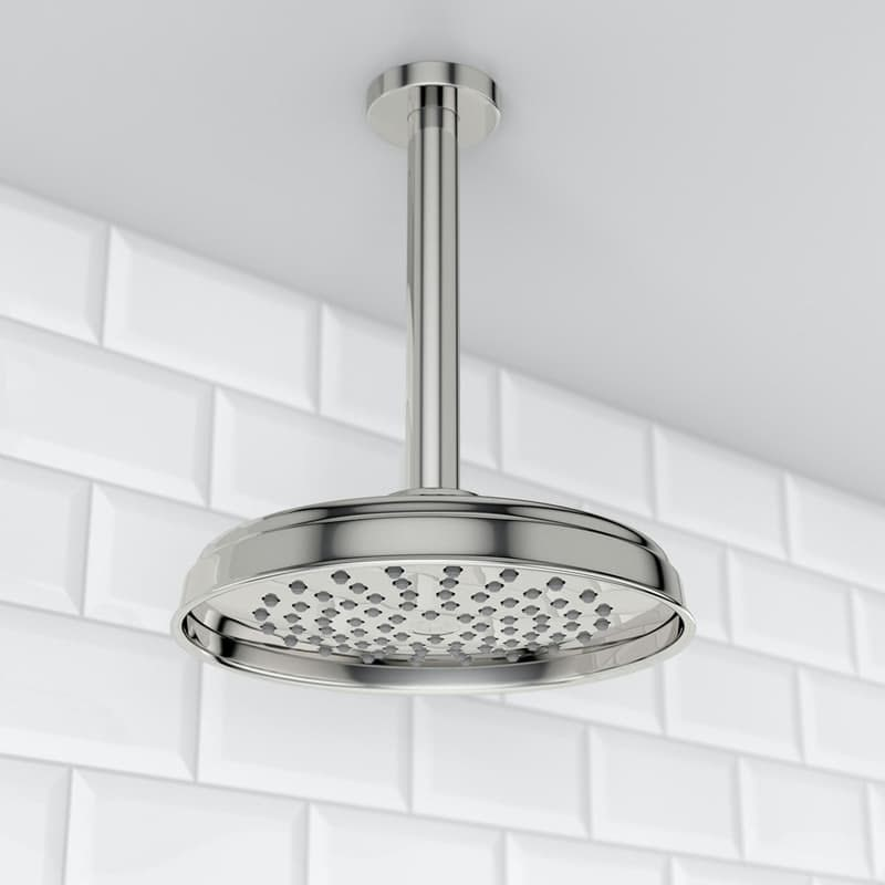 The Bath Co. Traditional rain can shower head with round ceiling arm