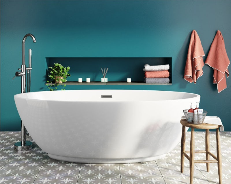 A contemporary freestanding bath