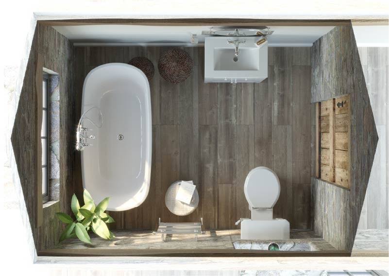 Top down view of Refined Rustic small bathroom with freestanding bath