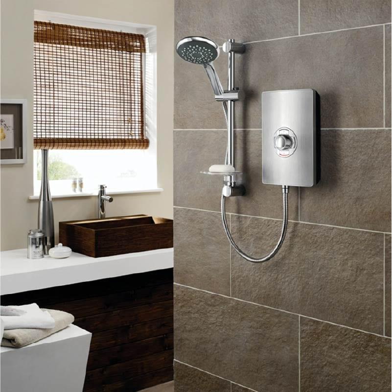 Triton Aspirante electric shower brushed steel
