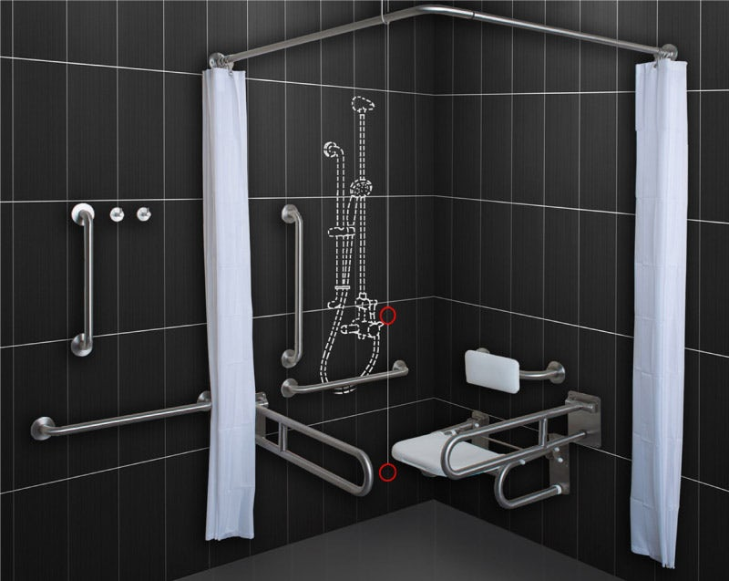 Dolphin commercial stainless steel Doc M shower pack including shower system