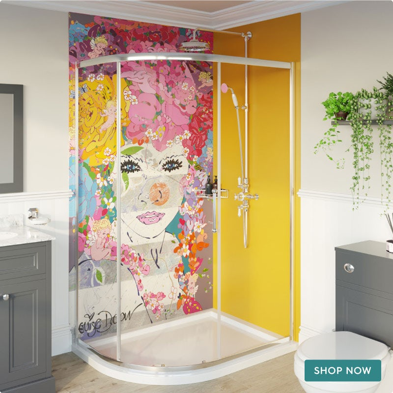 Louise Dear The Serenade Yellow acrylic shower wall panel pack with right handed offset quadrant enclosure