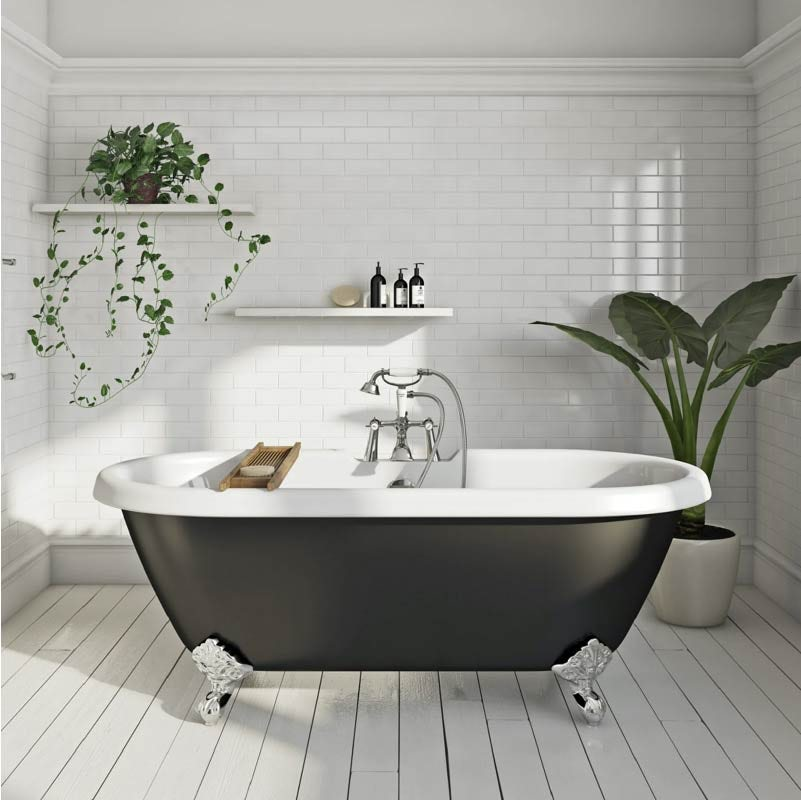 The Bath Co. Dulwich traditional double ended black roll top bath with ball feet 1695 x 740