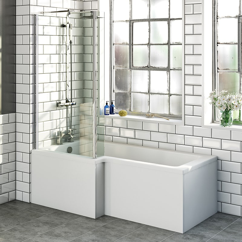 L shaped left handed shower bath