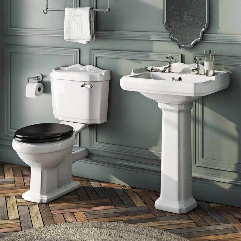 Orchard Winchester complete cloakroom suite with black seat and full pedestal basin 600mm
