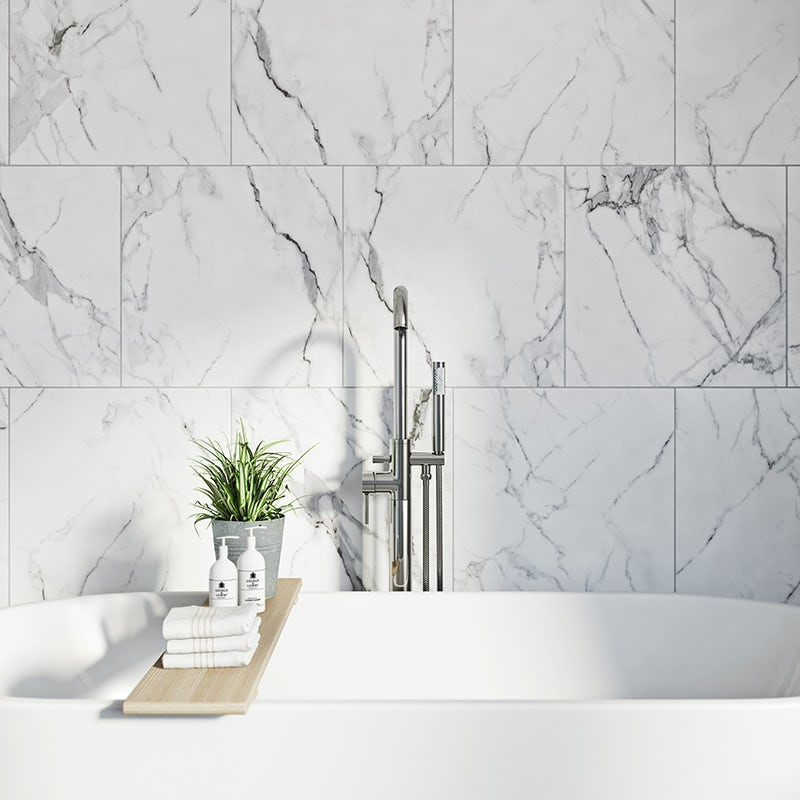 Arctic white matt tile