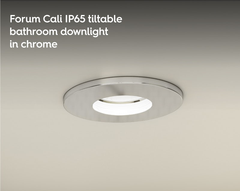 Forum Cali IP65 tiltable bathroom downlight in chrome