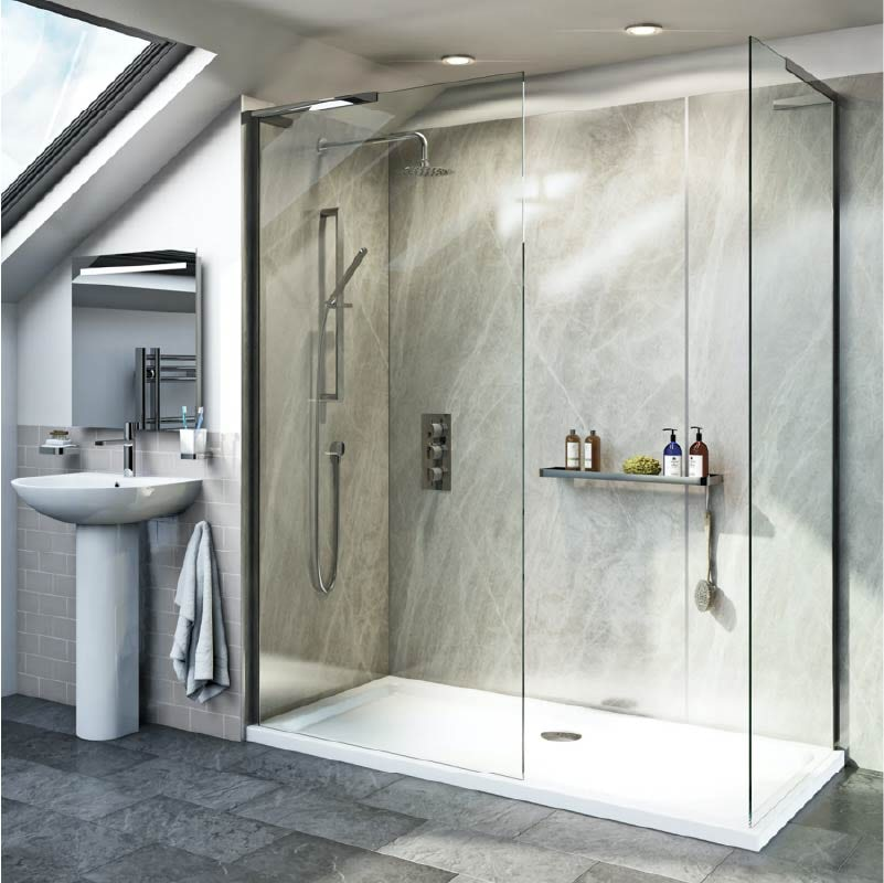 Mode 8mm walk in shower enclosure with rectangular gloss stone shower tray