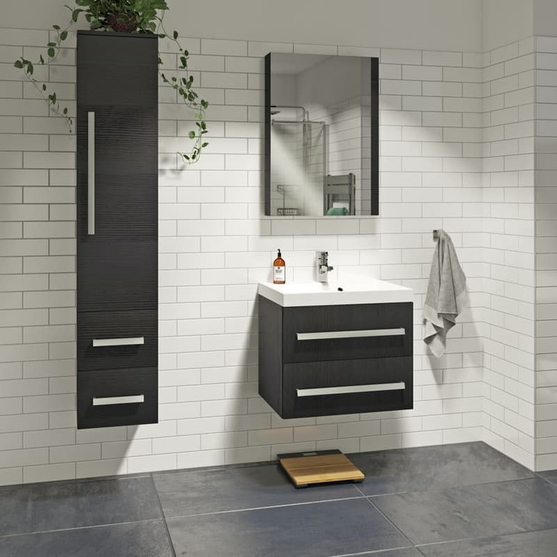 Orchard Wye essen black furniture package with wall hung vanity unit 600mm