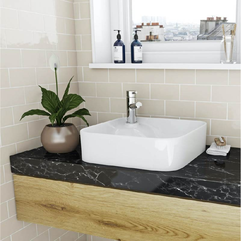 Accents Hughes square thin edge 1 tap hole countertop basin 430mm