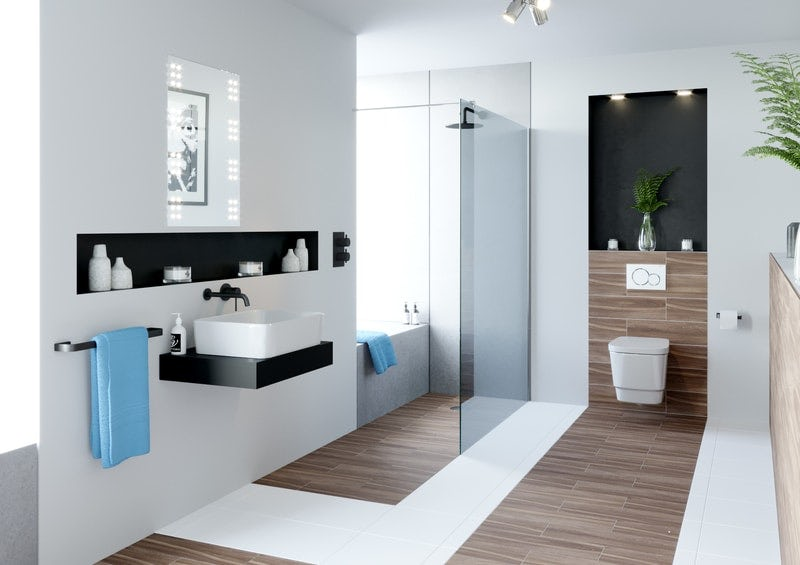 Mobility bathroom for person with visual impairment