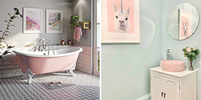Pink colour blocking in bathrooms