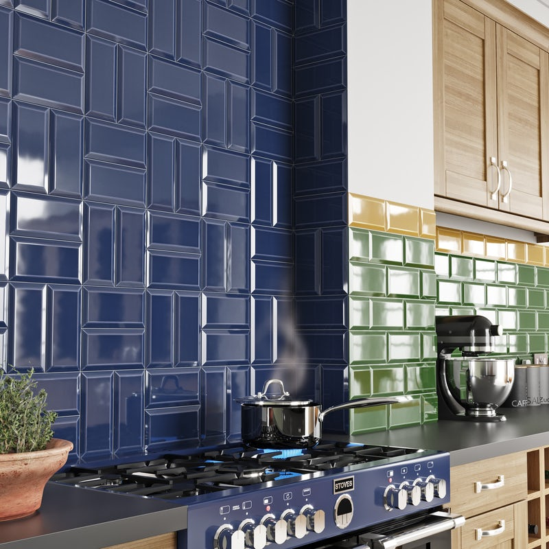Deep Metro tiles in mix of horizontal and vertical