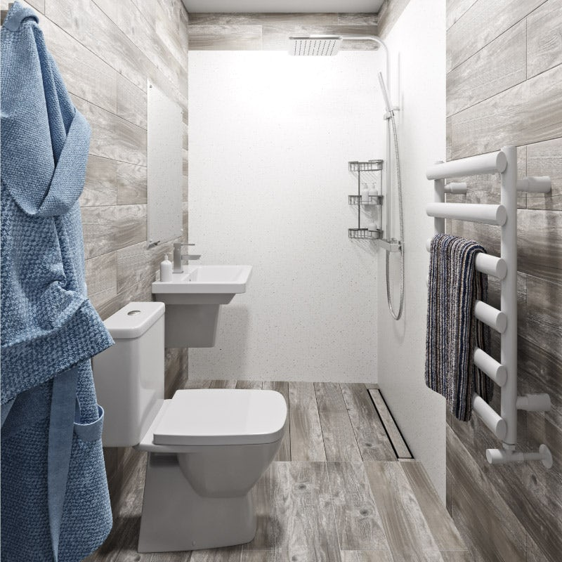 Soft neutral colours in a small wet room