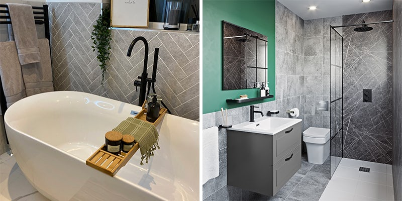 Matching black taps, showers & accessories
