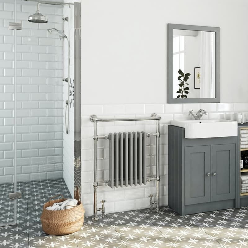 The Heating Co. Santa Fe traditional satin grey radiator 952 x 659