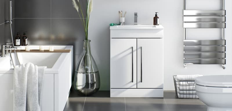 Orchard Derwent white floorstanding vanity door unit and ceramic basin 600mm