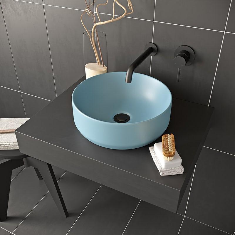 Blue countertop basin