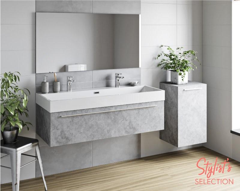 Morris dark concrete grey bathroom furniture