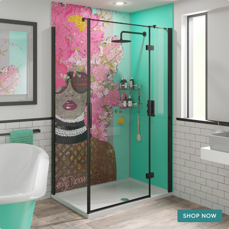 Louise Dear Kiss Kiss Bam Bam Green acrylic shower wall panel pack with black rectangular enclosure