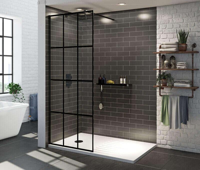 Mode 8mm black framed wet room glass panel