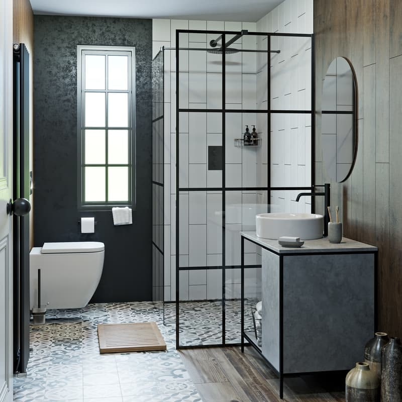 Soft Industrial average-sized bathroom
