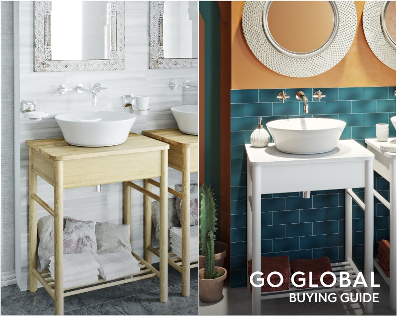 Mode South Bank white washstand with top & Mode South Bank natural wood washstand with top