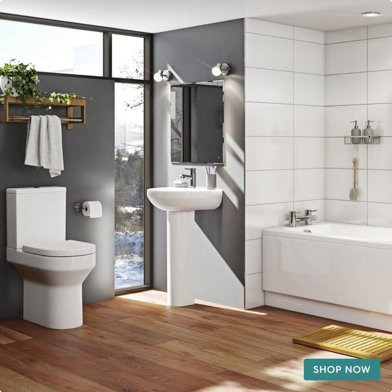 Orchard Wharfe bathroom suite with straight bath