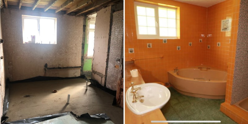 Laura's bathroom during and before renovation