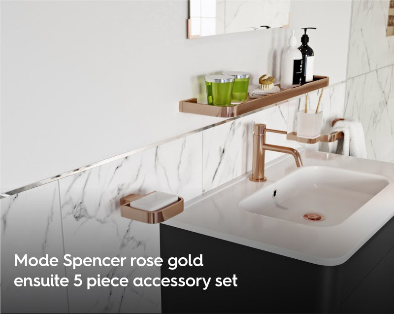 Mode Spencer rose gold ensuite 5 piece accessory set