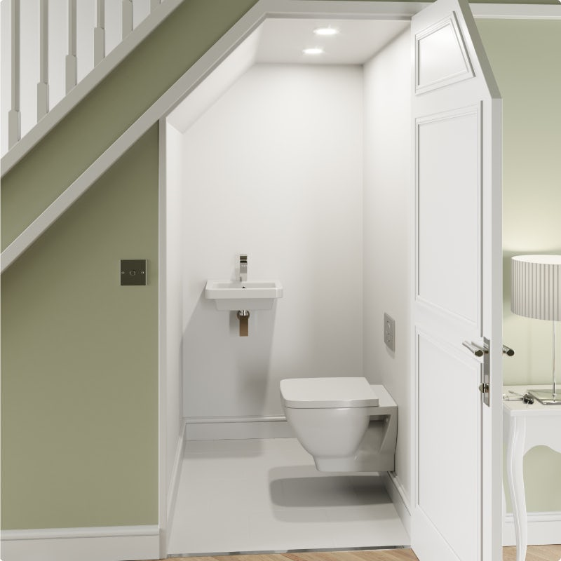 Warm and welcoming contemporary cloakroom—before