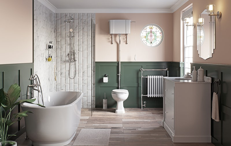 A traditional bathroom in Victorian home
