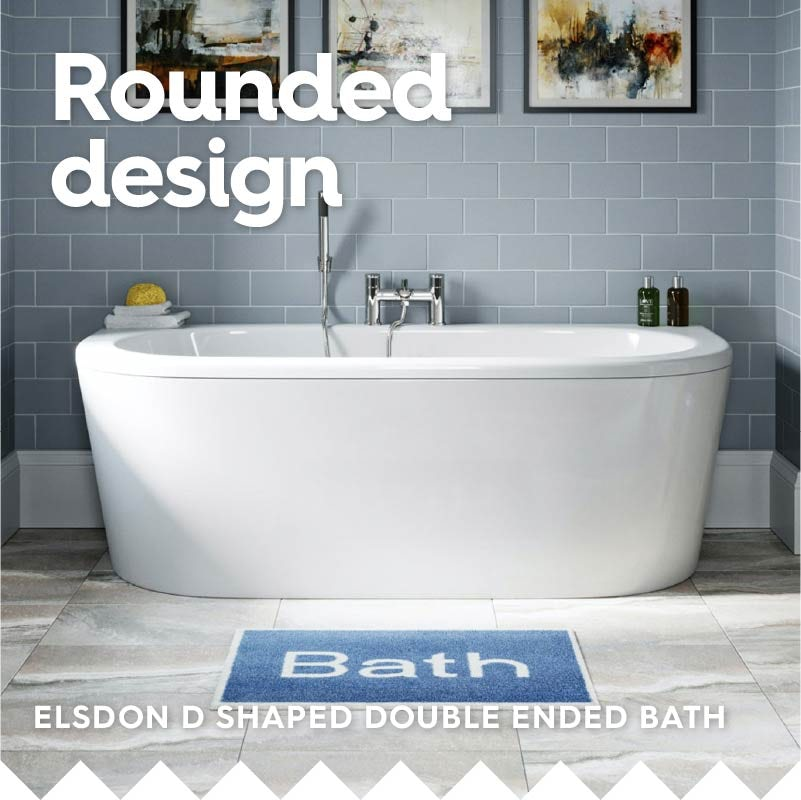 Orchard Elsdon D shaped double ended bath 1700 x 800