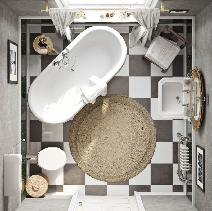 Overhead view of Vintage Chic in an average-sized bathroom