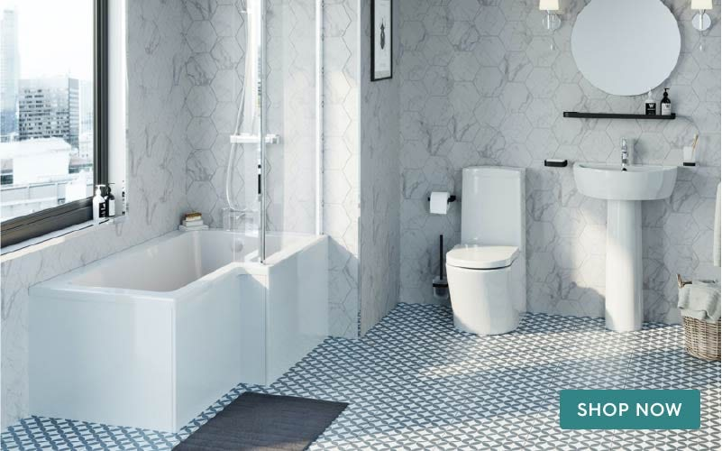 Mode Tate complete bathroom suite with right hand bath, shower and taps