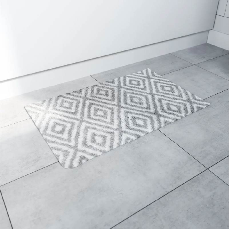 Accents grey geometric design microfibre bath mat