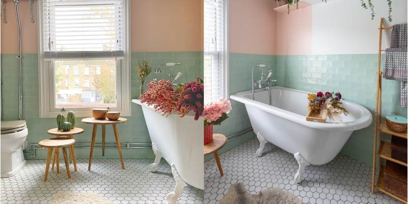 Pretty pink and blue bathroom colour combination
