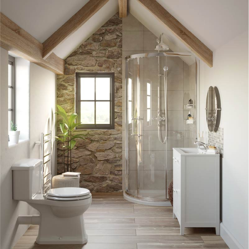 Refined Rustic small bathroom with shower