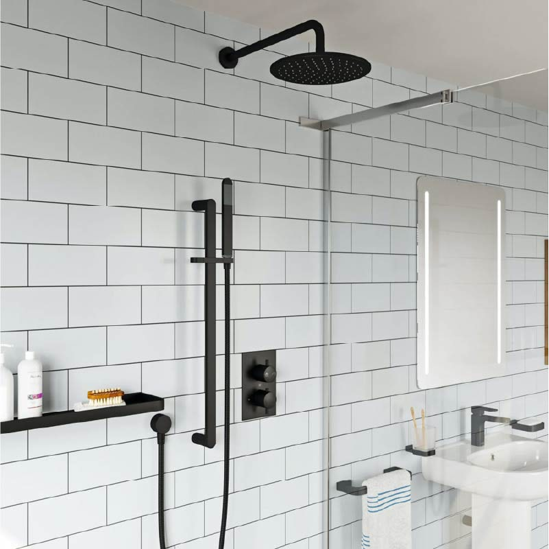 Mode Spencer round black twin diverter valve shower set
