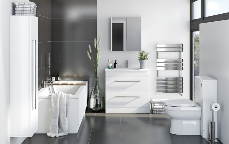 Monochrome style family bathroom