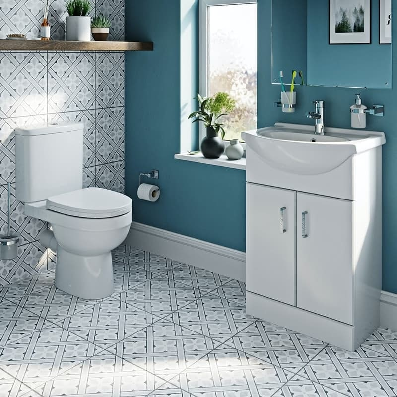 Orchard Eden close coupled toilet and white vanity unit suite 550mm