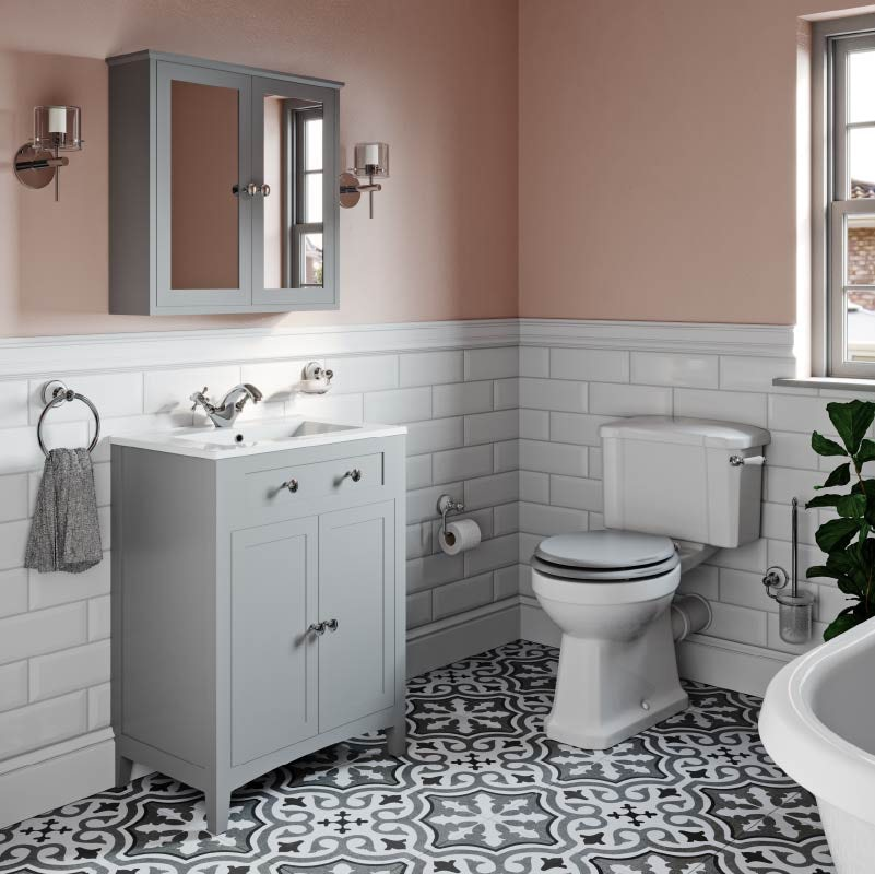 Pink and grey colour combination for bathrooms
