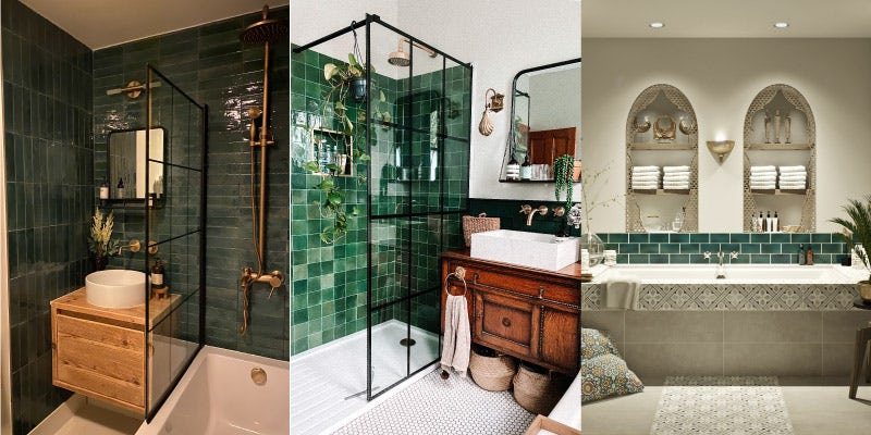 Green tiles will add a fresh new element to your bathroom design