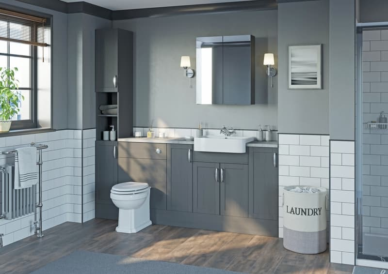 Pantone colour of the year 2021 Ultimate Grey used in a bathroom