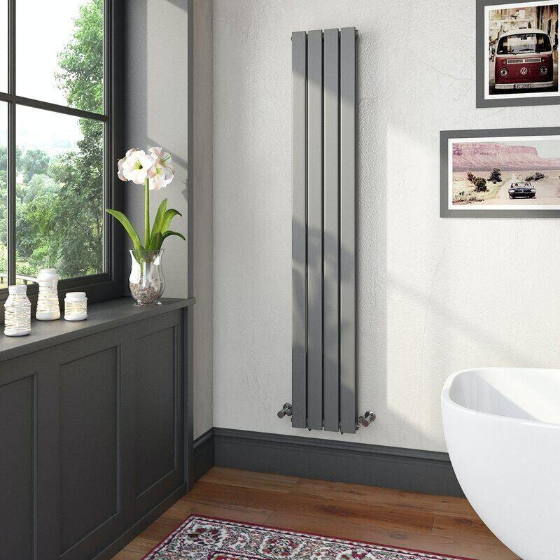 The Heating Co. Bonaire anthracite grey double vertical flat panel radiator