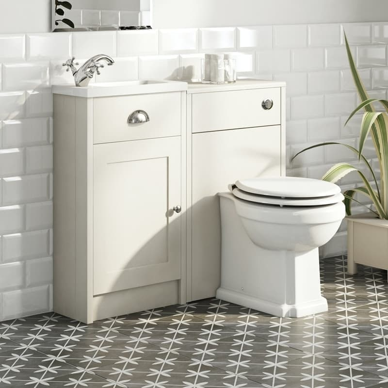 Orchard Dulwich stone ivory cloakroom combination with white wooden seat