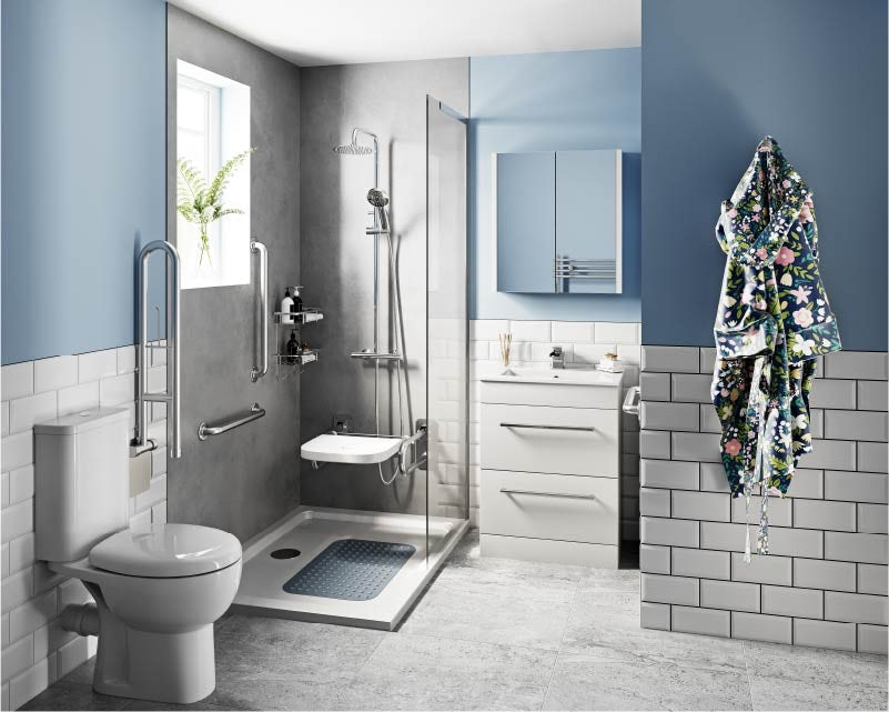 Blue accessible bathroom ideas