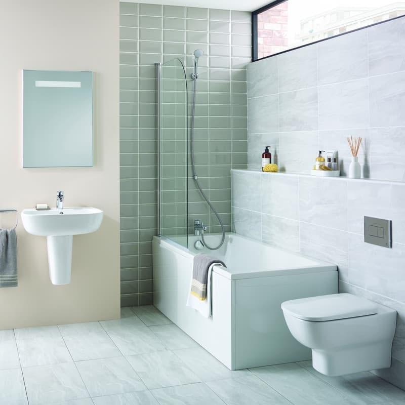 Ideal Standard Studio Echo straight bath suite with semi pedestal basin 1700 x 700