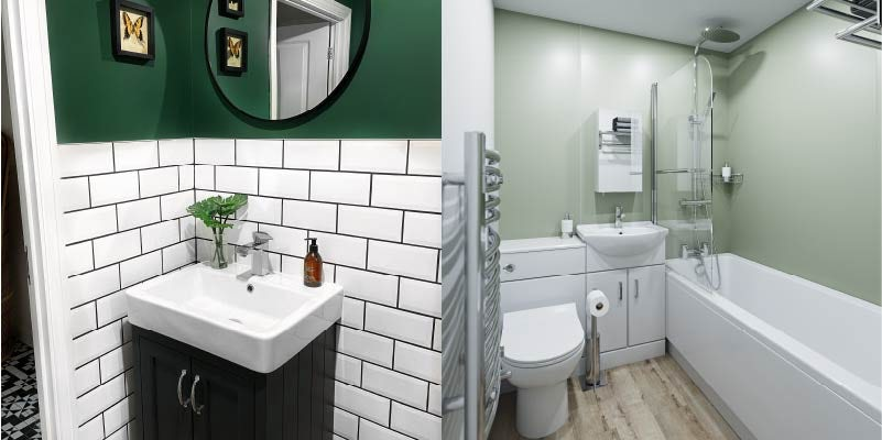 Green and white colour combination for bathrooms
