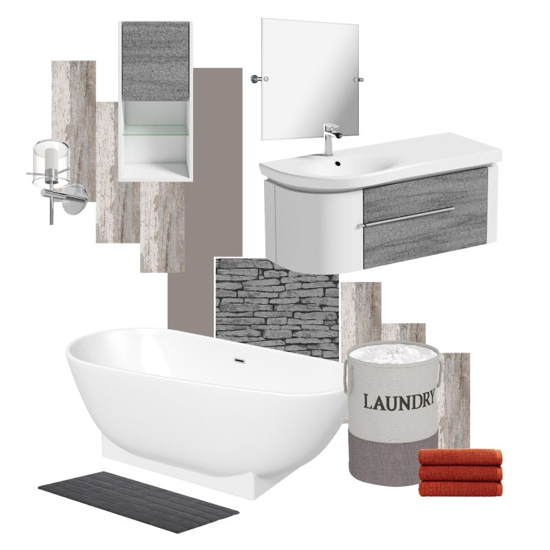 Natural Elements designer bathroom mood board